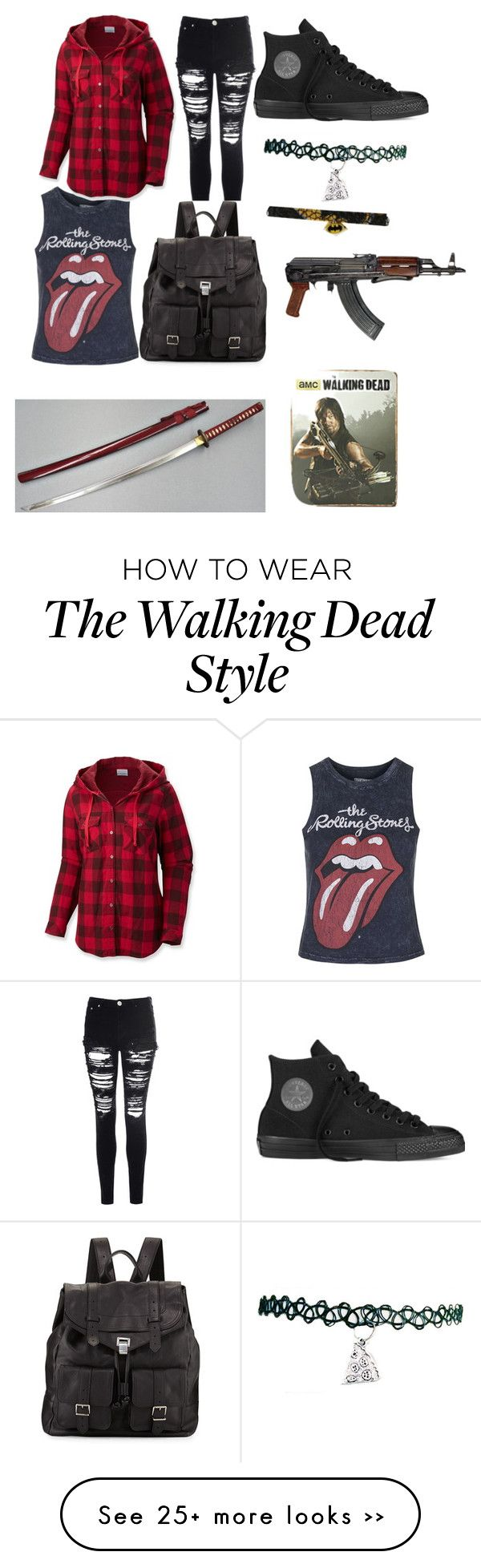 """The walking dead character outfit #1 Tara"" by purplepandaprincess07 on Polyvore featuring Topshop, Columbia, Glamorous, Converse and Proenza Schouler"