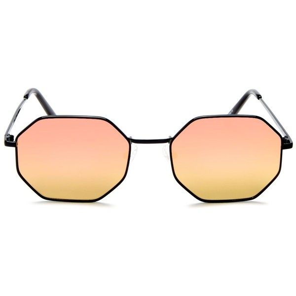 Quay On A Dime Mirrored Octagonal Sunglasses, 55mm ($63) ❤ liked on Polyvore featuring accessories, eyewear, sunglasses, quay sunnies, octagon glasses, mirror glasses, mirror sunglasses and quay sunglasses