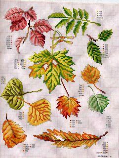 ♥Meus Gráficos De Ponto Cruz♥: Folhas de Outono para Toalha de Mesa (Ponto Cruz)