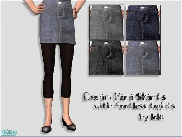 Lola's Denim Skirts With Footless Tights