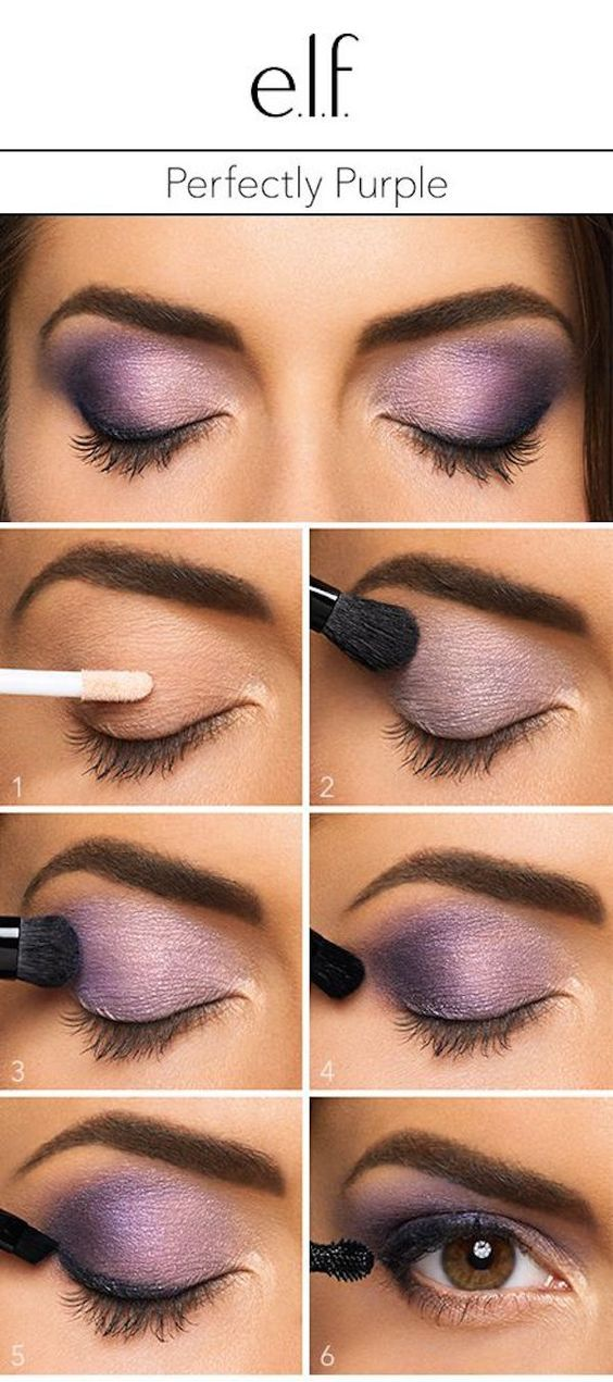"the e.l.f. Cosmetics Baked Eyeshadow Trio in Lavendar Love. 1. Start with a primer to give your bold eyeshadow look a boost. 2. Swipe the lightest shade across the entire lid. 3. Brush the middle color into the outer half of the lid. 4. Use a crease brush to create a ""v"" with the darkest shade of the trio in the outer most corner of the lid. 5. Line lashes with a cream liner in black and finish the look with mascara"