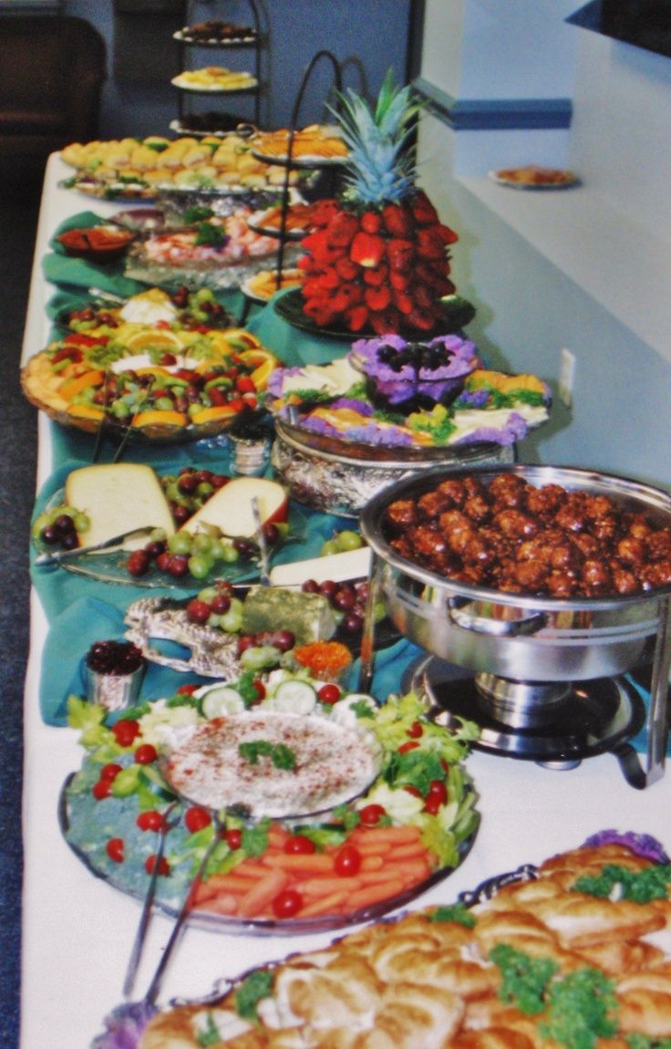 Christmas eve casual buffet ideas - Buffet For A Drs Office Open House With Smokey Bbq Meatballs Assorted Cheeses W
