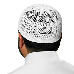 White Swiss Cotton Knitted Kufi Topi Muslim Mens Prayer Cap - 22 inch