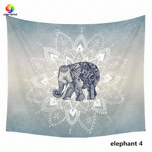 LUCKY TEXTILE Elephant Tapestry Colored Printed Decor Mandala Tapestry