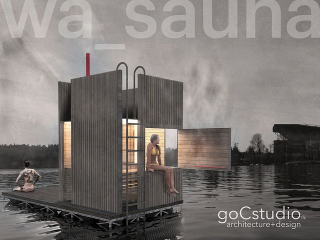 goCstudio's design for a wood-fired floating sauna aims for a 2015 spring construction and summer launch!