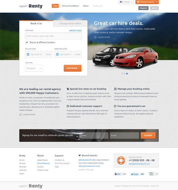 Renty - Car Rental & Booking PSD Template  #design #webdesign #template #web #graphic #psd #photoshop #rental #cars #carrental #booking