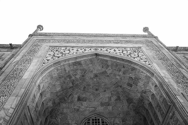 The Taj up close for you to marvel at the workmanship... In black and white.