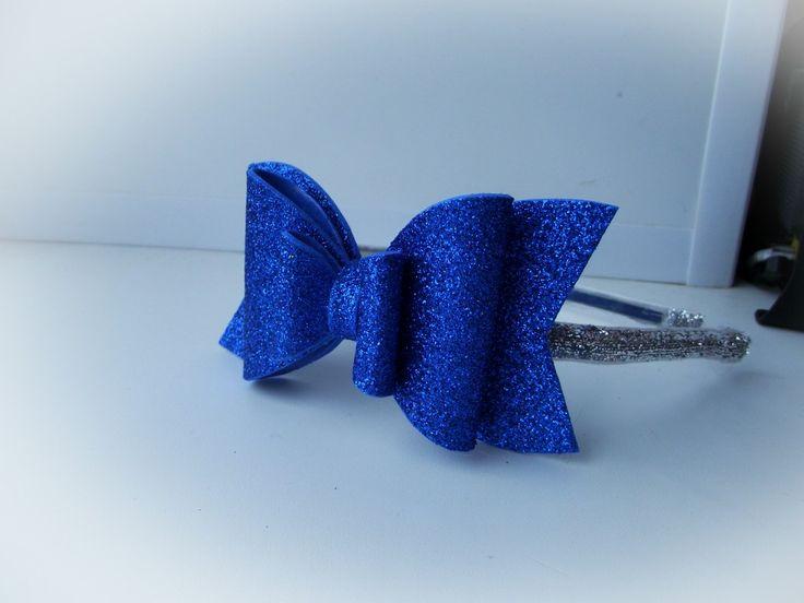 Ободок синий бантик