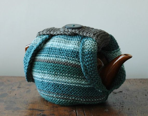 Knitted tea cosy, double thickness for maximum insulation.