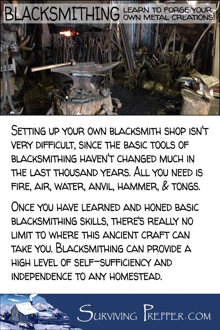Setting up your own blacksmith shop isn't very difficult. All you need is fire, air, water, anvil, hammer, & tongs.  via @https://www.pinterest.com/SurvivingPrep