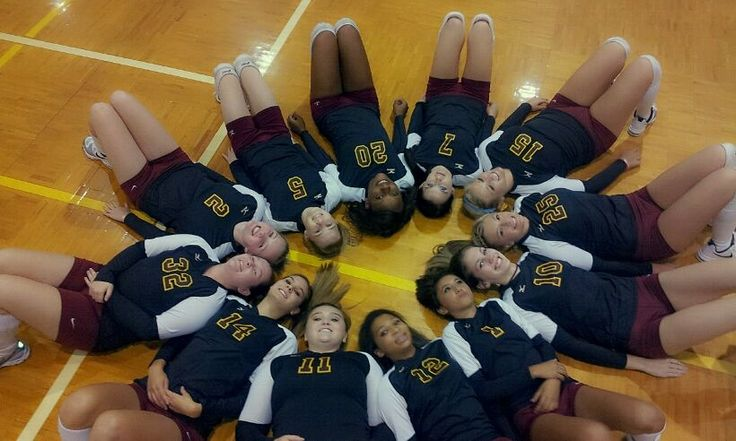 My volleyball team posing for a pic and a cute way to do it