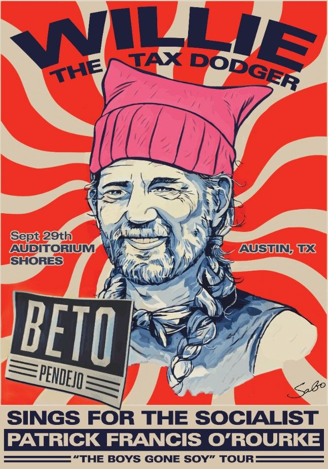 Street Artist Sabo Lampoons Willie Nelson Ahead of Beto O