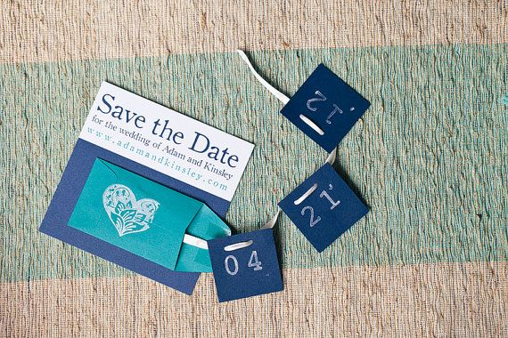 So cute!!  -- Custom Save the Date Garland Cards by IntoBlue on Etsy, $3.60