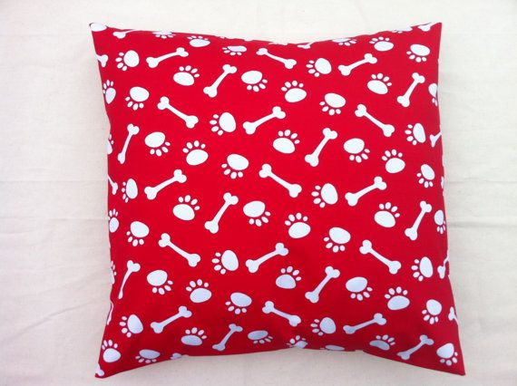 Cushion cover fun doggie bone and paw animal prints by RhapsodyInc