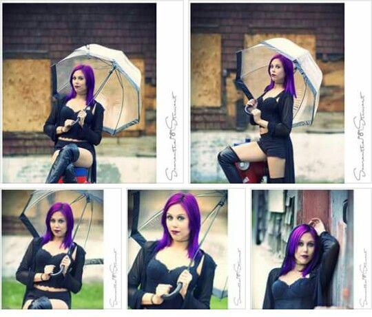Purple hair varied style
