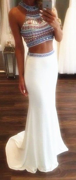 2 Pieces Mermaid Beading White Prom Dresses,Beading Evening Dresses,Long Prom Dresses