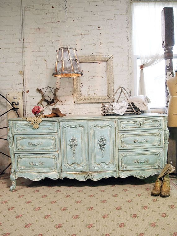 Painted Cottage Chic Shabby Aqua French Dresser by paintedcottages, $595.00