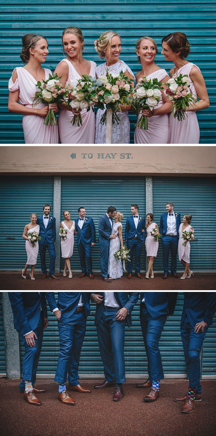 Modern pink bridesmaid dresses with blue groomsmen suits for city wedding | Merge Photography