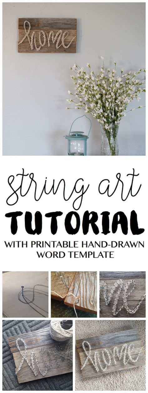 Always wanting to try out a string art project? Here's an easy tutorial from www.sixcleversisters.com This DIY home decor pallet sign has detailed instructions and includes a free printable word template.