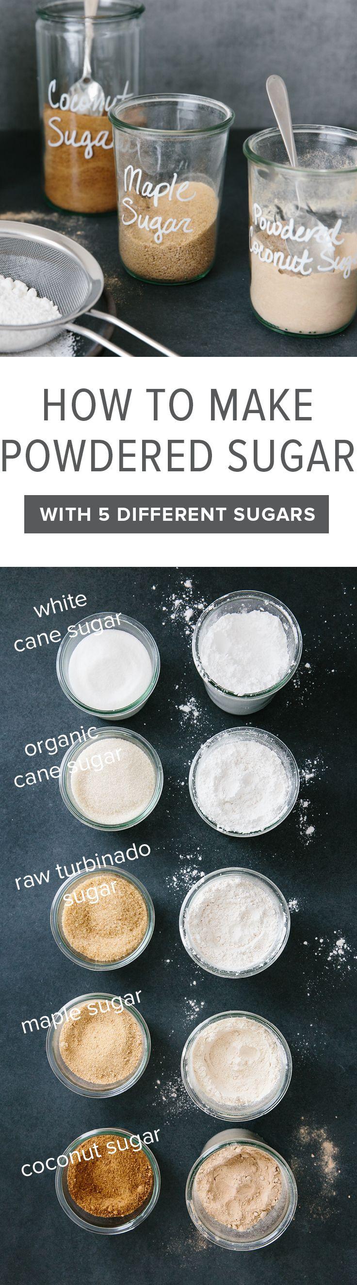 Learn how to make powdered sugar at home, with the sugar of your choice (including cane sugar, raw turbinado sugar, maple sugar or coconut sugar).
