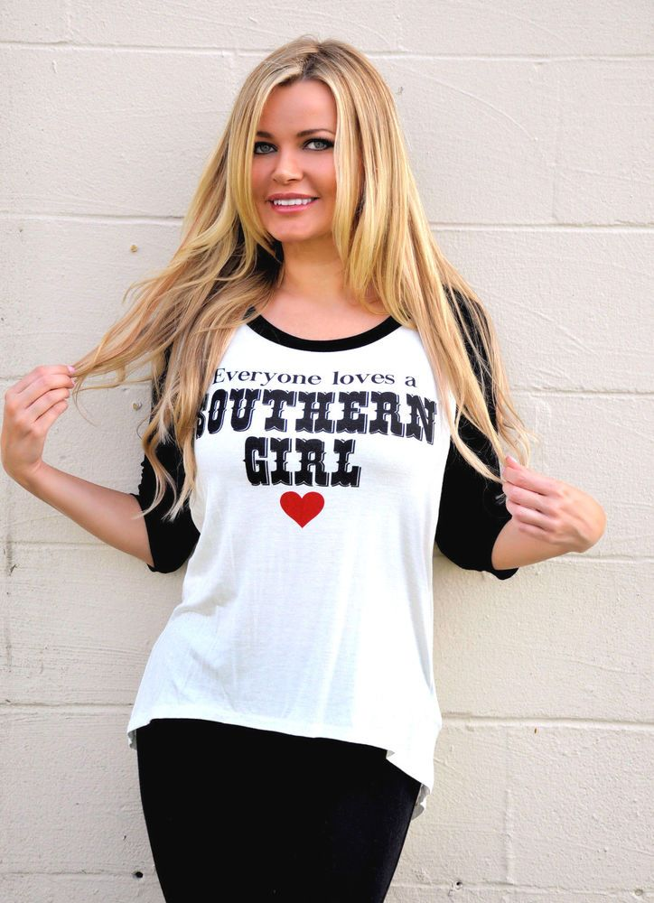 """""""Everyone Loves a Southern Girl"""" Black & White Jersey style Raylan Shirt top NEW #shopjaded #GraphicTee"""