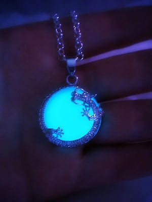 Dragon Moon Glow in the Dark Luminous Necklace Pendant - Lunar Dragon - Wrapped Stone Glowing Dragon