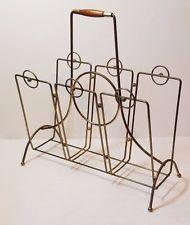 Vintage Mid Century Modern Metal Wire Wood Magazine Book Rack Stand Storage Bin
