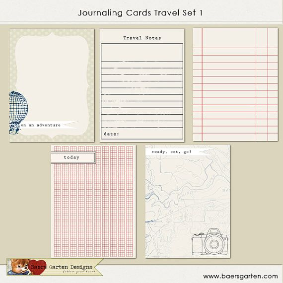 The PRINTABLE journaling cards Travel Set 1 includes one set of five 3x4 journaling cards for your scrapbooking layouts and project life albums.