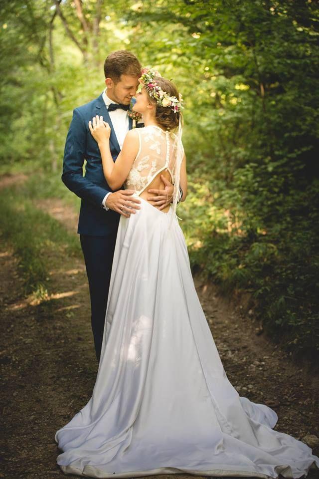 Open Back Wedding dress made of silky chiffon, hand sewn lace detail