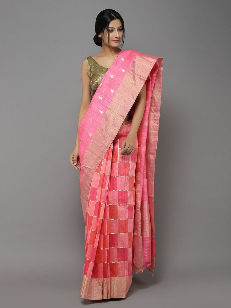 Peach-Pink Handwoven Dupion saree