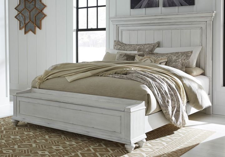 Kanwyn Whitewash King Panel Storage Bedroom Set Cincinnati Overstock Warehouse In 2020 Panel Headboard King Storage Bed Queen Panel Beds