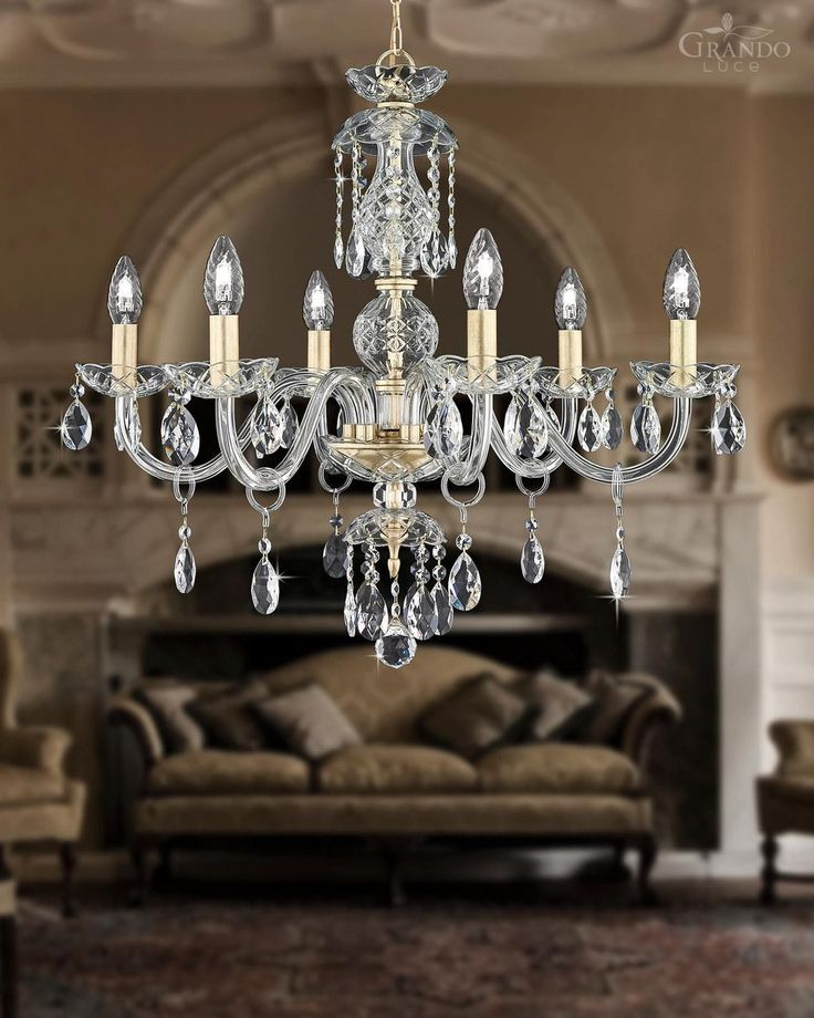 104/6 CH gold leaf crystal chandelier with Swarovski Spectra. - GrandoLuce