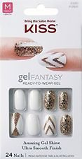 "**NEW** Kiss Nails GEL FANTASY ""KGN06"" TO THE MAX Medium Design Nails w/Adhesive"