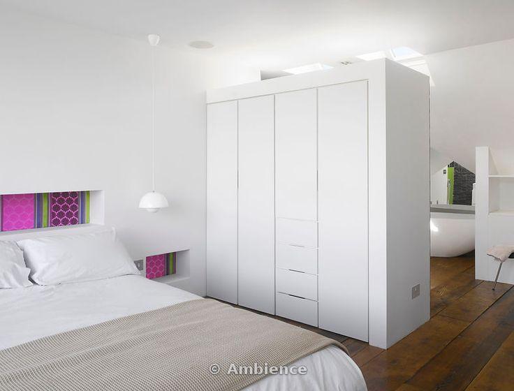 66 best loft bedroom images on pinterest bedroom for Open plan bedroom bathroom