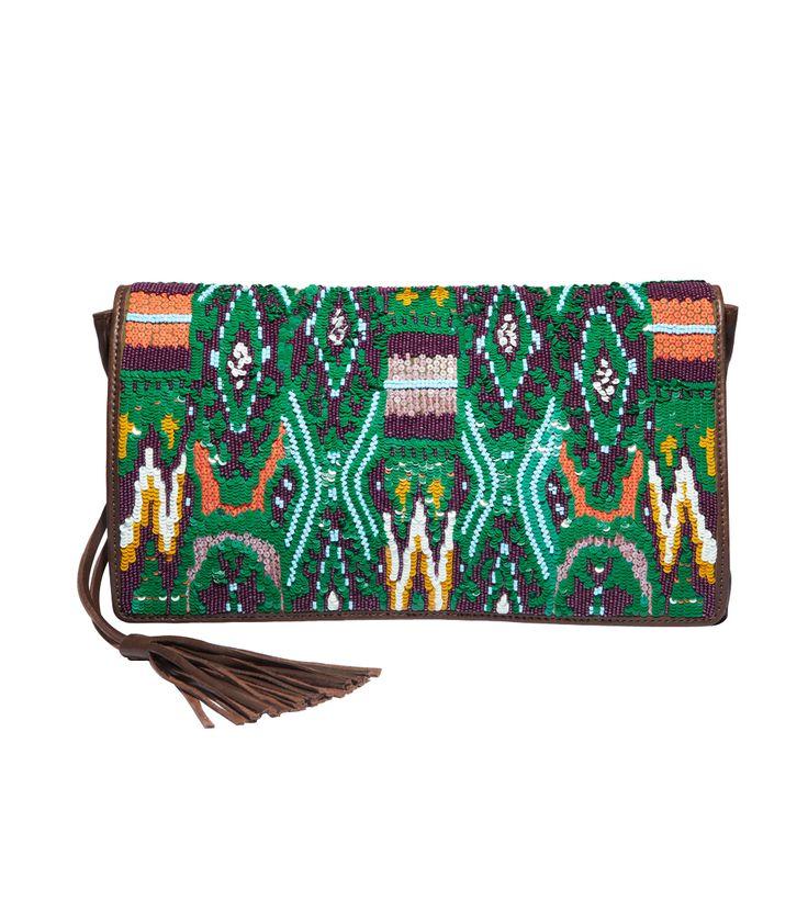 This beaded Figue Sasha clutch is boho chic! #ShopBAZAAR