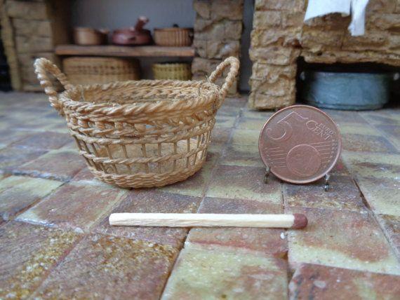 Dollhouse Miniature wicker backet1:12 for dollhouse, Miniature wicker, Miniature backet