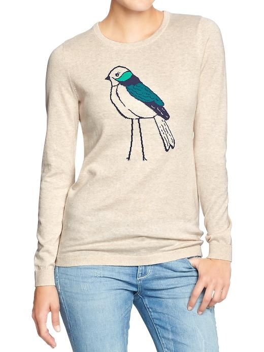 Women's Graphic Crew-Neck Sweaters | Old Navy Cute, but they are pretty thin. Good for TX i guess.