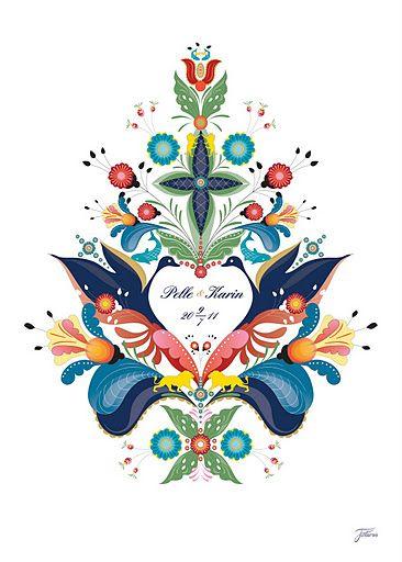 modern take by Caroline Tinterova: Kurbits for wedding---painting something similar, very cute---