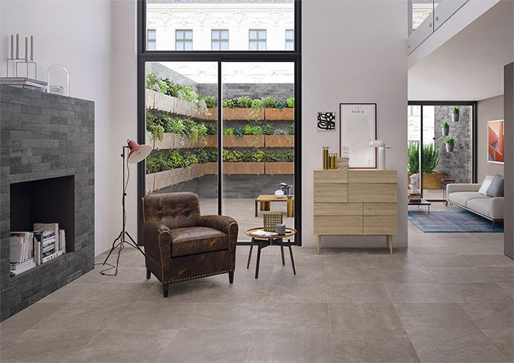 Code: purity of natural stone and intense appeal of concrete in porcelain stoneware tiles