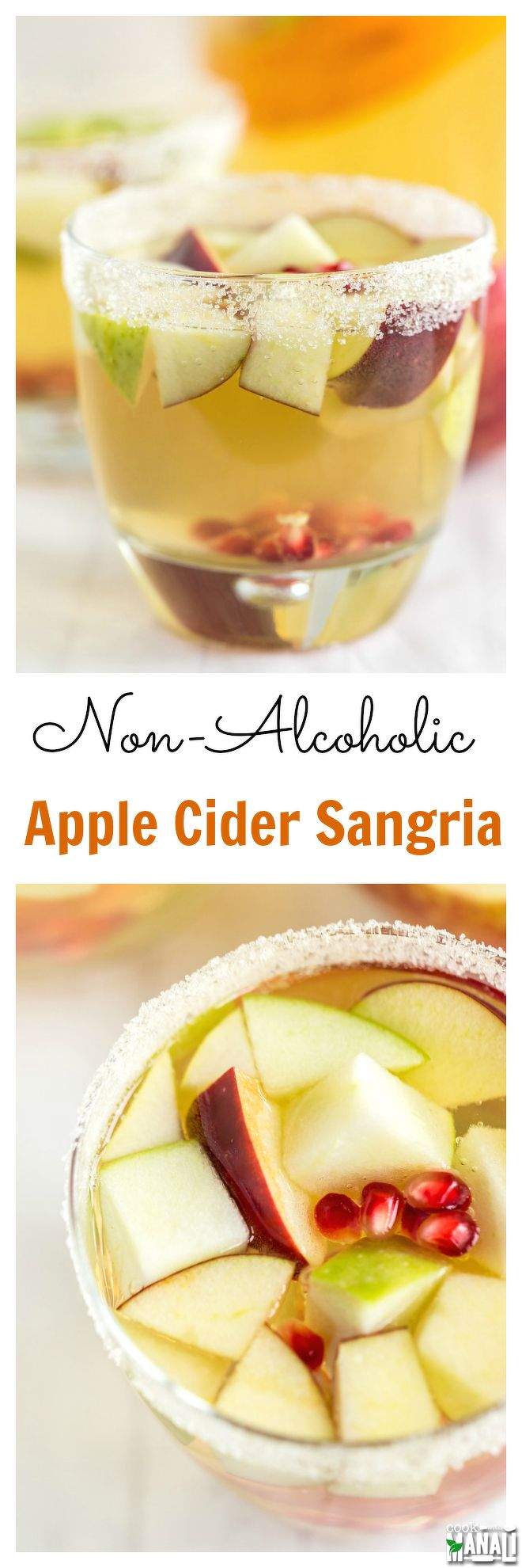 Easy to make and delicious, this Non Alcoholic Apple Cider Sangria is a refreshing drink to celebrate fall! Find the recipe on www.cookwithmanali.com (flavored water recipes pregnancy)