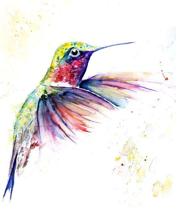 TARAREANDO la Ave arte  Colibrí acuarela pintura tarareando