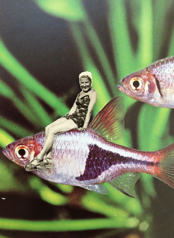 Trippy Art | Mixed Media Collage | Pisces Girl | Vintage Magazine Scraps | Retro Print | Black and White Photography | Underwater | Mermaid | Ocean | Make Believe | Fantasy | Sci-Fi.