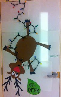 Christmas wall or door display, reindeer, Rudolph, Christmas lights, humorous