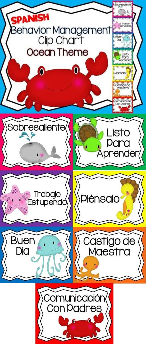 An ocean themed behavior chart in Spanish... :)