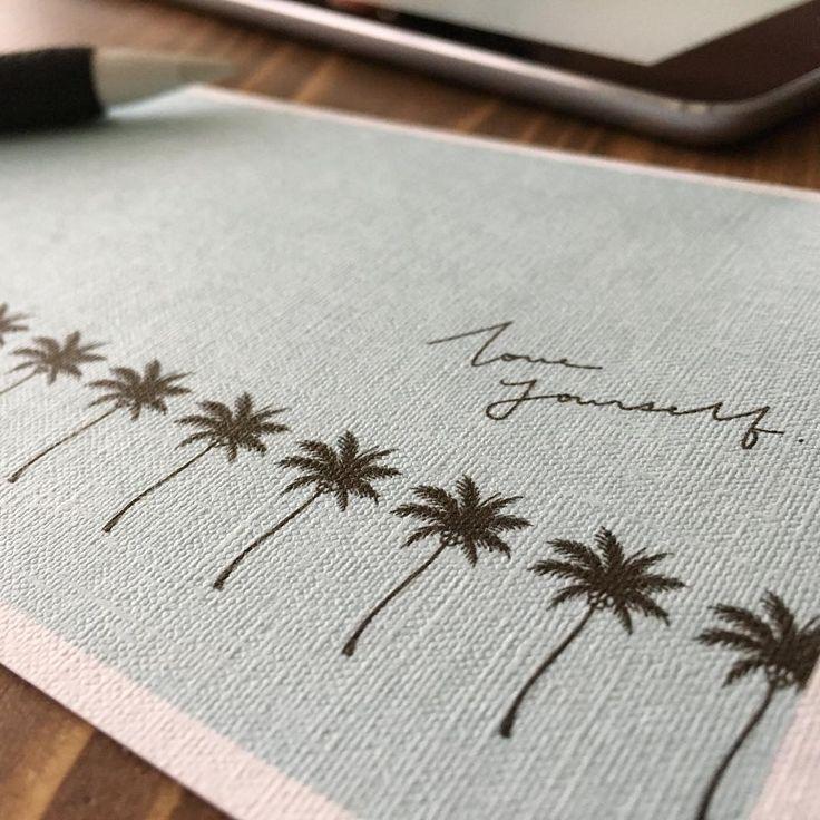 ポストカード、チョコミント色。 . #イラスト#ヤシの木#ポストカード#メッセージカード#レタリング#チョコミント#ipadpro#applepencil#procreate#palmtrees