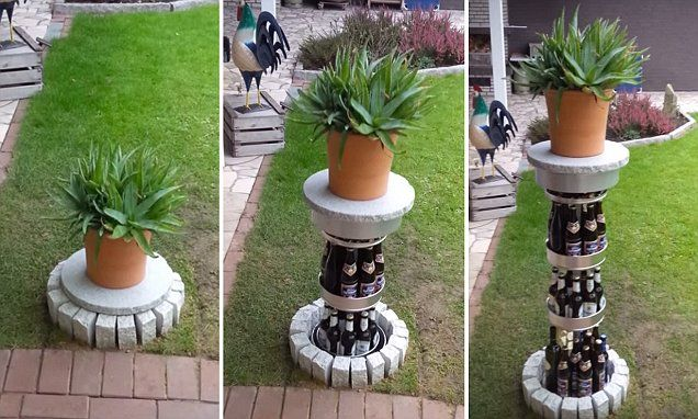 Garden ornament rises out of lawn to reveal amazing hidden BEER FRIDGE #DailyMail