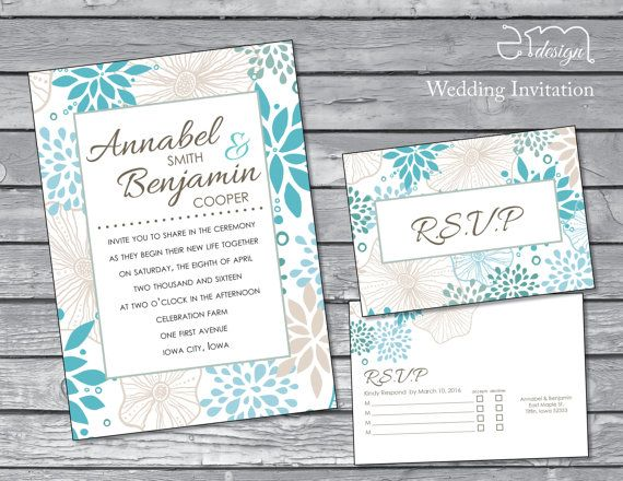 Floral Wedding Invitation Blue And Gray