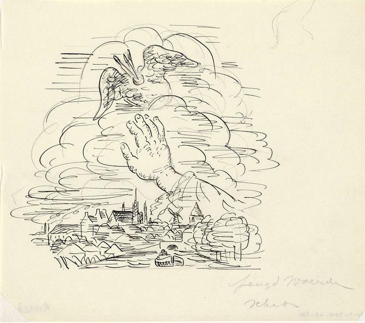 Leo Gestel | Zonder titel Schets vignet voor biografie van Gestel door Van der Pluym, gezicht op Woerden met daarboven een hand die reikt naar een gevleugeld palet, Leo Gestel, 1935 - 1936 | Gezicht op Woerden met daarboven een hand die reikt naar een gevleugeld palet