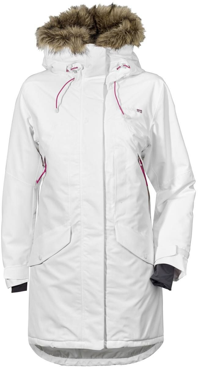 A feminine winter parka with warm synthetic insulation.
