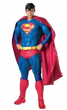 Collector's Edition Superman Adult Costume - It's a bird, it's a plane...  Superman™ was the first real superhero of comic books, and is still one of the most classic and easily recognizable characters. You'll certainly be noticed and recognized in this latex super deluxe Superman costume.